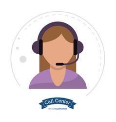Call center woman operator design vector