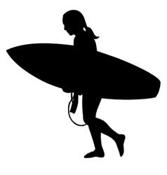 Surfer girl silhouette vector