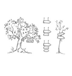 tree with sign hand drawn signs vector image vector image