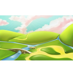 3d cartoon nature landscape with bridge vector image