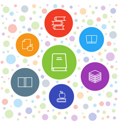 7 library icons vector image