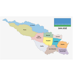 administrative and political map of san jose vector image