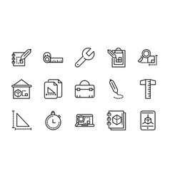 architecture construction tools icons set line vector image