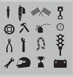 Auto racing icon set vector