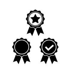 Award icon set in flat style rosette symbol vector