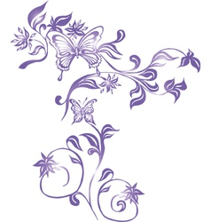 Background with Butterflies and Ornament vector