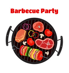 barbecue - grill station sausage meat shashlik vector image