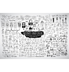 Big bundle business casual doodles icons and vector