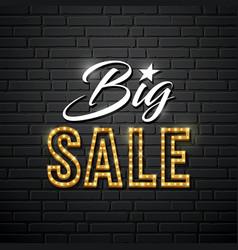 big sale message gold lighting design vector image