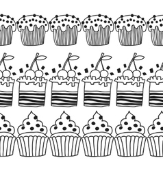 Black and white decorative border of cakes for vector