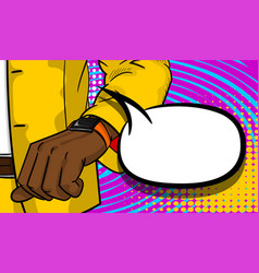 black businessman looking at watch pop art vector image