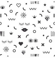 Black silhouette feminine fun symbol icons pattern vector