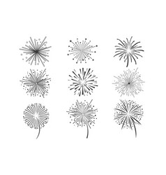 brightly celebration fireworks set holiday and vector image