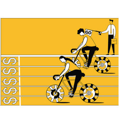 business people doing cycle racing vector image