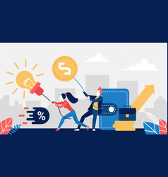 business people pull lightbulb idea and money gold vector image