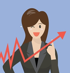 Business woman pointing at growth graph vector