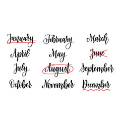 calligraphy months names abstract calendar vector image