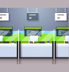 cash desk windows financial currency exchange vector image