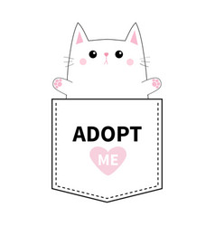 cat pocket paw print adopt me pink heart cute vector image