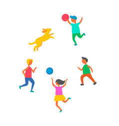 Children playing in ball dog pet outdoors vector