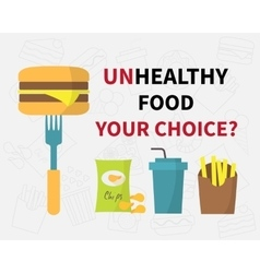 Choice of unhealthy food junk fast food icons vector image