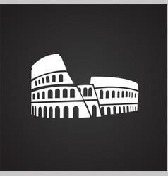 colloseum on black background vector image