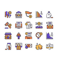 color linear icon set financial crisis vector image