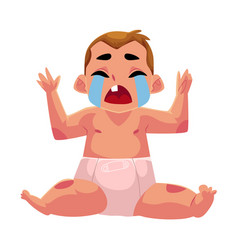 Crying baby kid infant child in diaper front vector