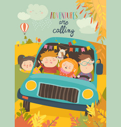 cute children traveling by bus vector image