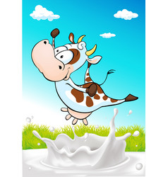 cute cow jumping over milk splash with natural vector image