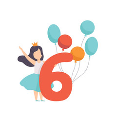 cute girl celebrating her sixth birthday child vector image