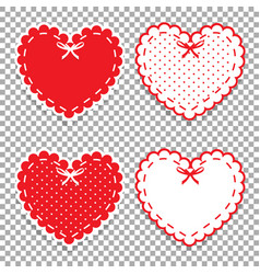 cute lacy hearts set isolated on transparent vector image