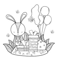 cute little rabbit with balloons helium in the vector image