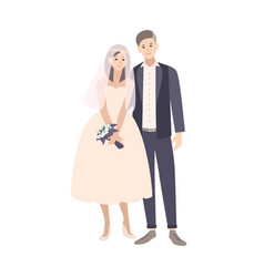 Cute pair of young fashionable bride and groom vector