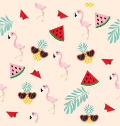 cute pink flamingo tropical seamless wiht paper vector image