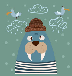 Cute walrus characters gull on cloud vector