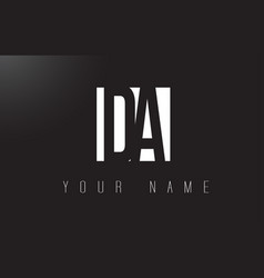 Da letter logo with black and white negative vector