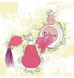 Decorative stylish perfume bottles vector image