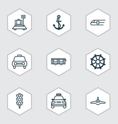 Delivery icons set with combat aircraft car vector