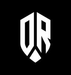 dr logo monogram with emblem shield style design vector image