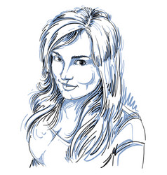 Drawing smiling sexy flirting woman with vector