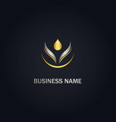 Droplet eco pure oil beauty gold logo vector