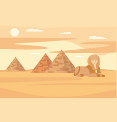 egypt desert landscape with pyramids and sphinx vector image