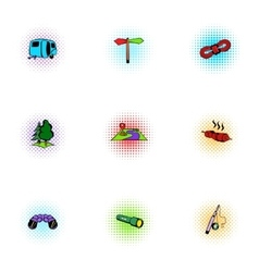 Encampment icons set pop-art style vector