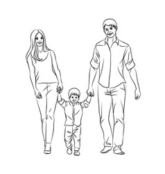 family graphic hand-drawn sketch vector image