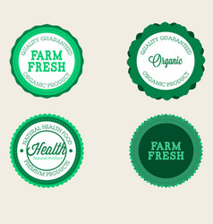 farm badge set of fresh organic elements vintage vector image