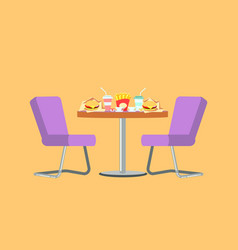 Fast food restaurant table with burger and drink vector