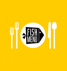 fish menu icon vector image