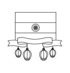 flag india icon cartoon in black and white vector image