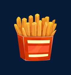 french fries fried potatoes in red box isolated vector image